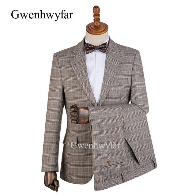 Gwenhwyfar 2018 Winter New England Style Plaid Formal Mens Suits