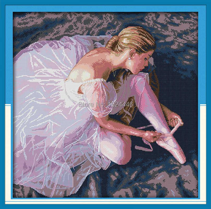 Ballerina mädchen schönheit tanz malerei gezählt druck auf leinwand 14CT 11CT unfinished DMC Kreuz Stich kit Hand Set Stickerei