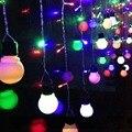2*1 m LED Cortina Bola Luces Bombillas de Hadas de La Boda suministros de decoración Del Partido Guirnalda Araña intermitente LED de vacaciones luces