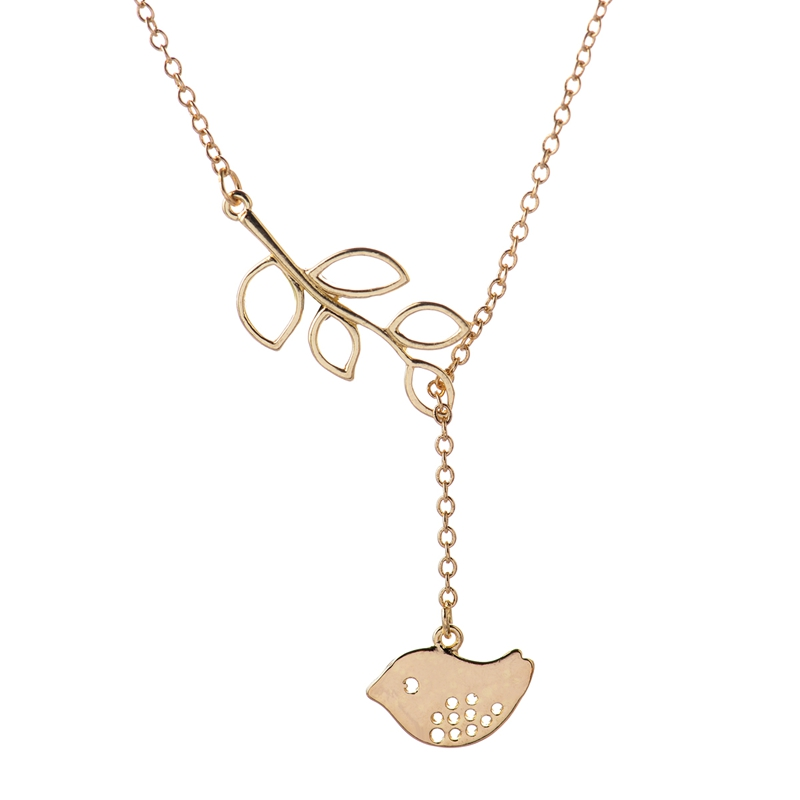 2016 Vintage Gold Plated Long Chain Necklaces for Women Casual Bird on Leaf Pendants Necklace Tiny Brass Fine Ladies Jewelry