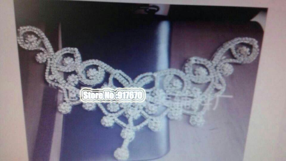 Gorgous Crystal Clear Rhinestone Patches Applique for Wedding Dress Collar, Beaded Rhinestone Applique