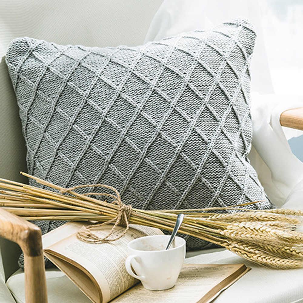 Nordic Abu-abu Rajutan Sarung Bantal Twist Mengepang Geometris Sarung Bantal Desain Sederhana Sofa Rumah Modern Bantal Dekorasi