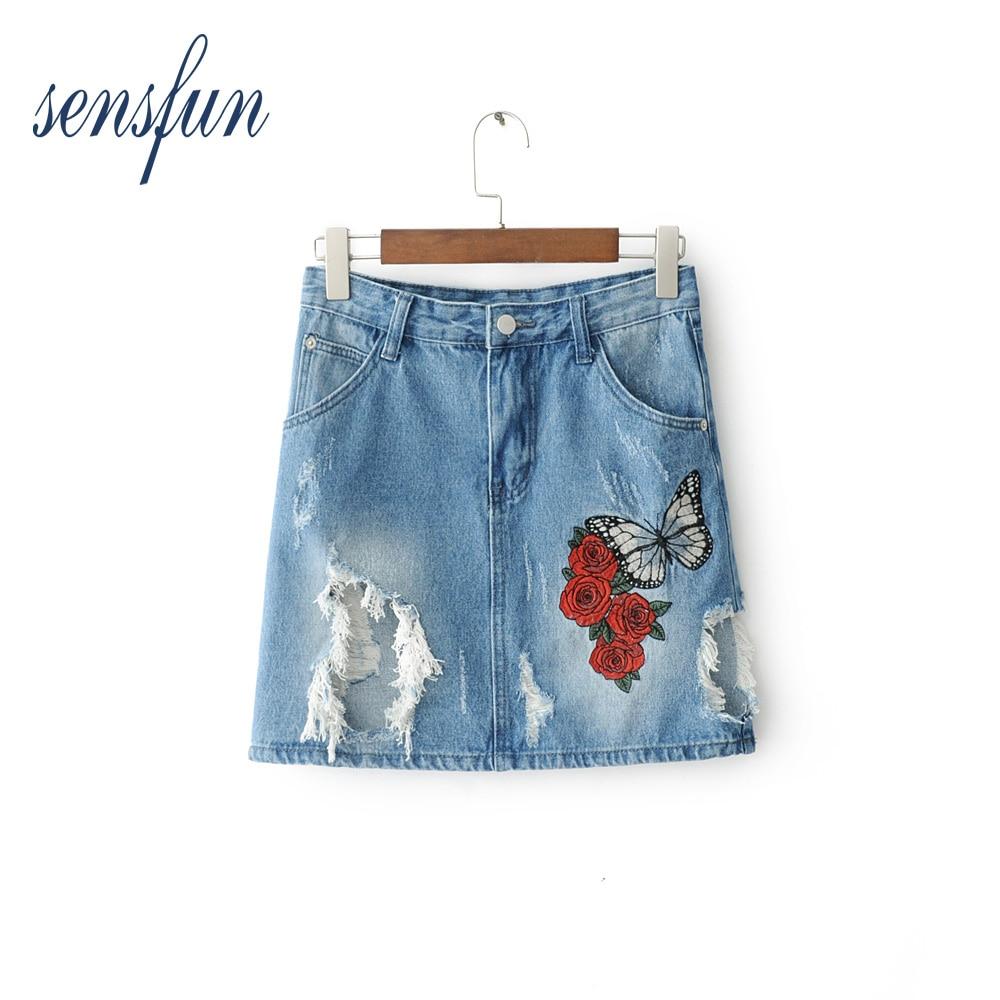 Sensfun 2018 fashion women sweet floral embroidery denim skirts vintage pockets faldas European style ladies mini skirts