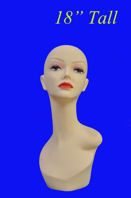 "18 "" PVC tall maniquí de goma espuma de poliestireno pantalla head peluca / collar / cap PYED Color amarillo"