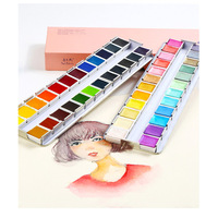 Rubens Solid Watercolor Pigment Pearlescent Beginner Professional Set Iron Box Master 12 Color 24 Color Watercolor Art Supplies
