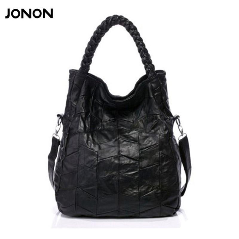 Jonon 100% Сумки из кожи натуральной овчины Для женщин Сумки лоскутное Сумки через плечо для Для женщин Бесплатная доставка