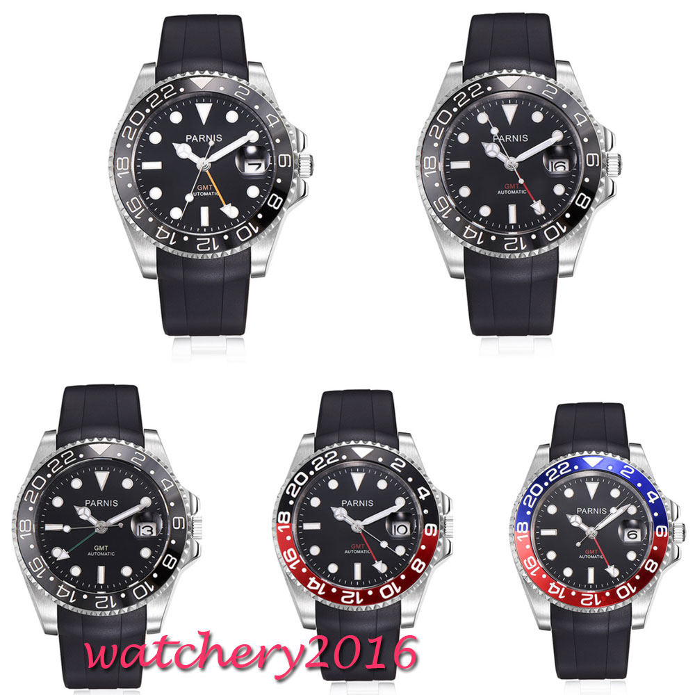 40mm Parnis Black Dial Sapphire Glass SS Case Luxury Brand GMT Luminous Automatic Watch Diver Swim Movement Mechanical Watches40mm Parnis Black Dial Sapphire Glass SS Case Luxury Brand GMT Luminous Automatic Watch Diver Swim Movement Mechanical Watches