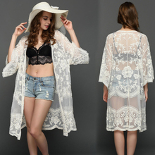 2019 Summer Bikini Cover Up Floral Lace Hollow Crochet Swimsuit Cover-Ups 3/4 Sleeve Bathing Suit Beachwear Tunic Beach Dress crochet panel floral tunic beach cover up