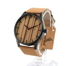 BOBO BIRD I17 Wooden Watches Calendar Dialplate Designer Leather Straps Japan Quartz Watch accept OEM Customize in Gift Box