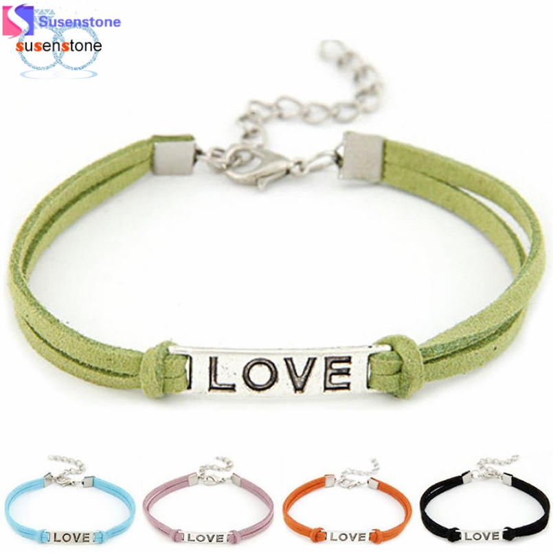 SUSENSTONE Braided Adjustable Leather Popular Bracelet Women Men Love Handmade Alloy Rope Charm Jewelry Weave Bracelet Gift #0