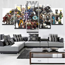 Wall Art 5 Panel Overwatch Character Painting Modern Home Decorative Canvas HD Prints Picture Decor Unique Game Posters