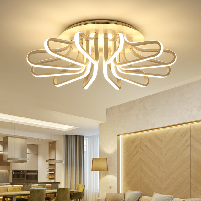 LED Ceiling Light for Living Room Foyer Metal Home Decoration Surface Mounted Lamp White Dimmable Remote Control Indoor Lighting