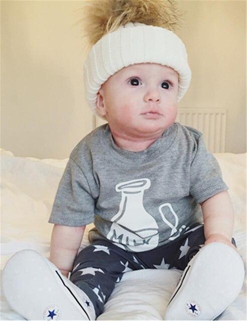 3ceac050f396d 2018 d u0027été de mode bébé garçon vêtements coton lettre lait impression  gris T