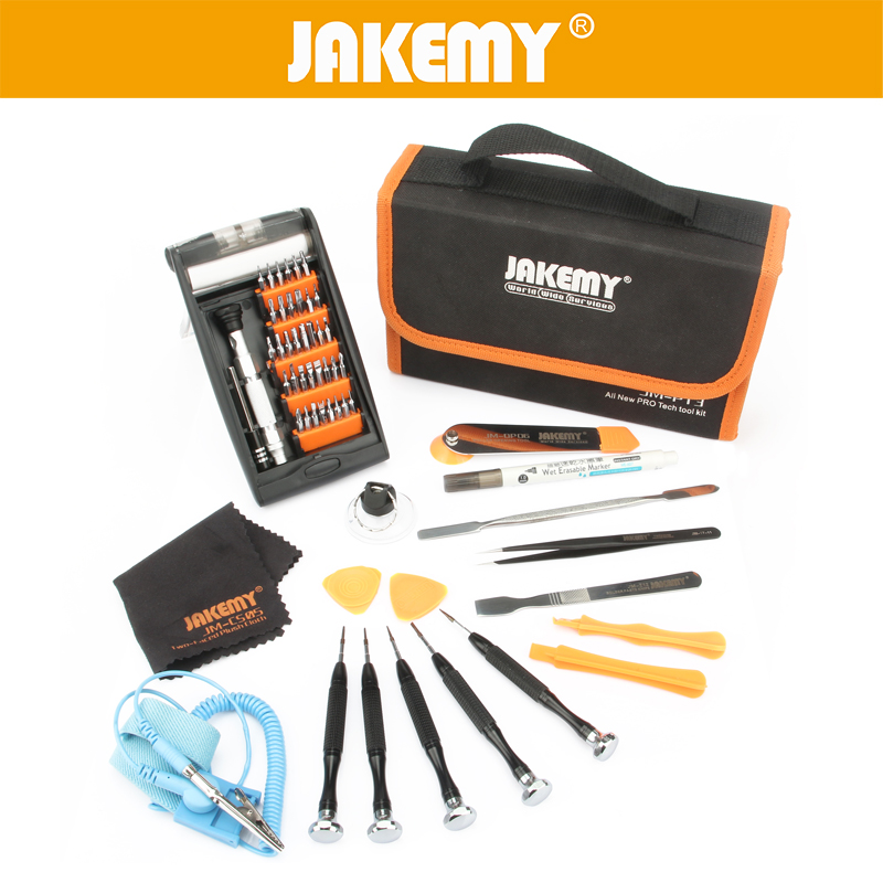 ФОТО JAKEMY Repair Tools Kit Ferramentas Screwdriver/Metal Spudger/Oily Pen/Absorb Operating Mat For Computer Mobile Phone Furniture