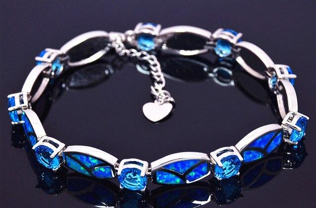 8f7950ebb73edb Wholesale   Retail Fashion Fine Blue Fire Opal Gem Bracelet Sliver Jewelry  party gifts For Women BNT170919004