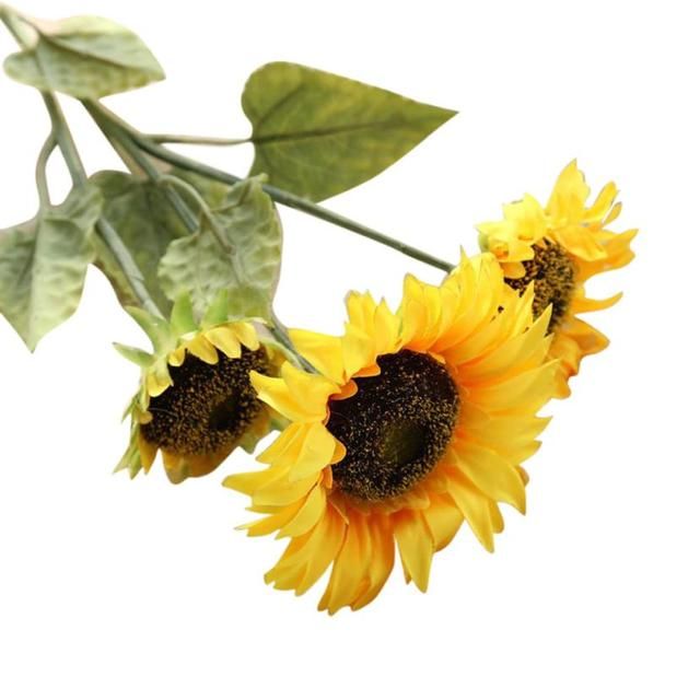 3 Pcs Real Touch Fake Flowers Silk Cloth Plastic Sunflower Artificial For Home Festival Party Wedding Decorative 712