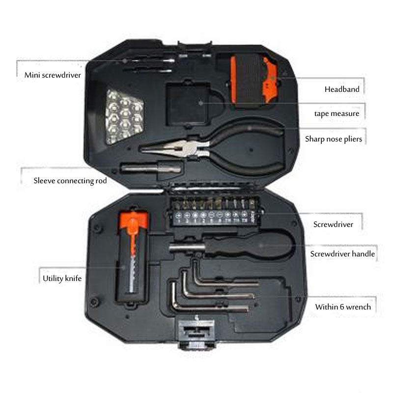 Uus mitmekesiste tööriistakasti loominguliste tööriistade komplekt Hooldus hädavalgustuse lõikamine Riistvara tööriistade komplekt õues tööriistakast tasuta saatmine