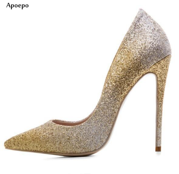 Apoepo 2018 Sexy High Heels for Woman Pointed Toe Glitter Embellished Wedding Shoes Slip-on Dress Shoes Thin Heels Party Shoes apoepo 2018 newest woman stilettos pumps sexy pointed toe slip on dress heels office lady thin heels shoes bling party shoes
