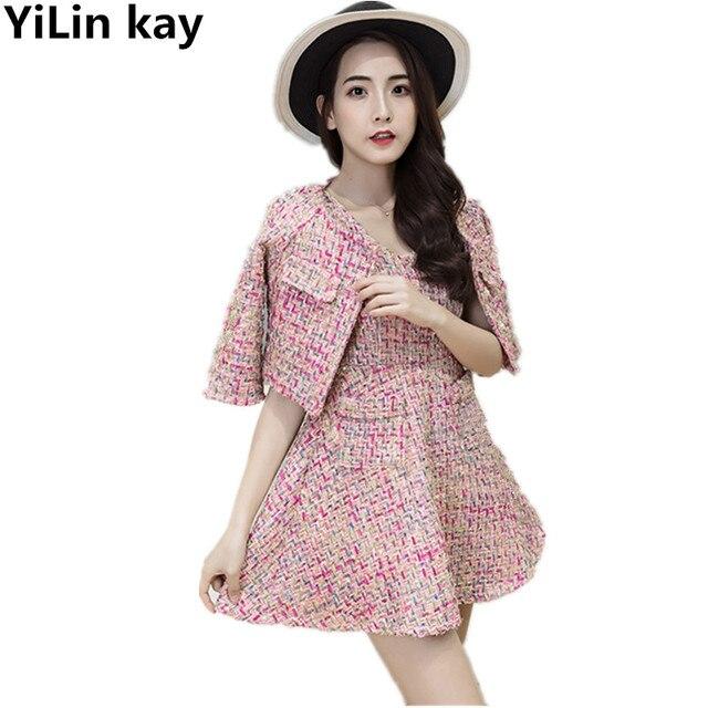 Yilin Kay Pink Tweed Short Jacket Sleeveless Dress Suit 2018