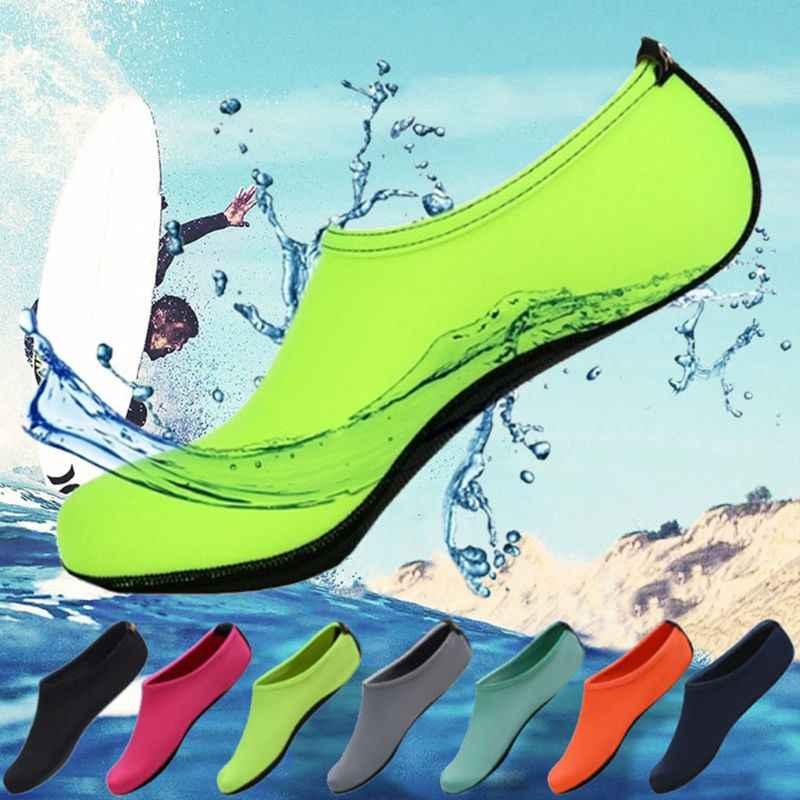Yetişkin Çiftler Plaj Dalış Şnorkel Aqua Çorap Parlak Düz Renk Havuz Yüzme Hızlı Kuru Barefoot Sörf Slip-On su ayakkabısı