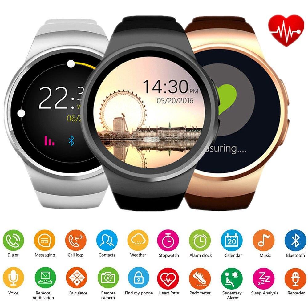 Nouveau KingWear Bluetooth montre intelligente téléphone plein écran KW18 Smartwatch fréquence cardiaque pour Android ios prise en charge SIM TF carte hommes TOP QW09