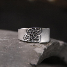 Vintage Retro Plum Flower Ring Anels For Women Antique 100% 999 Sterling Silver Top Quality Gift Girl Friend