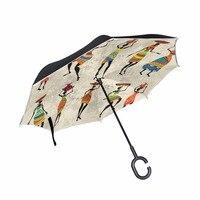 Windproof Reverse Umbrella African Women Head Holding Porcelain umbrella rain/sun women/men high quality 2017 Child durable