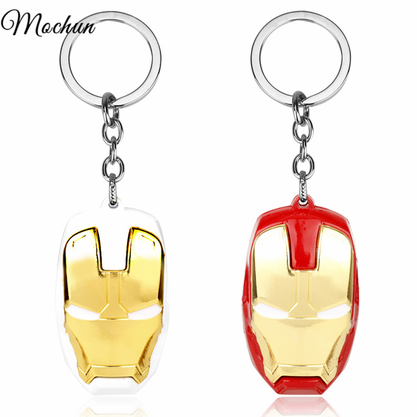 MQCHUN Marvel Super Hero The Avengers <font><b>Iron</b></font> <font><b>Man</b></font> <font><b>Mask</b></font> Keychain Fashion Ironman <font><b>Head</b></font> Metal Pendant <font><b>Key</b></font> <font><b>Chain</b></font> Ring Chaveiro Llaveros