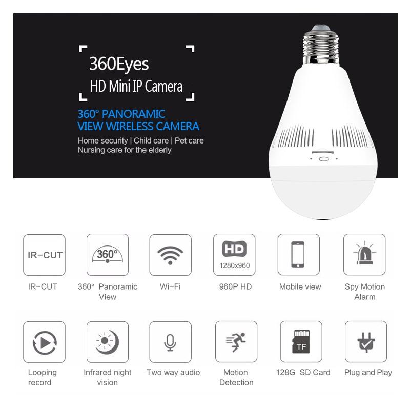 3MP 1.3MP home Security Mini Lamp WIFI Camera 960P 3MP 360 Degrees Panoramic FishEyes P2P Bulb Light Wireless IP CCTV Camera цена