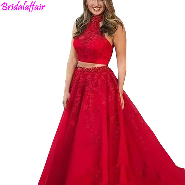 b5ba15fa68a Charming Red Two Piece Prom Dresses Beaded Lace Appliques Sexy Backless A  Line Occasion Dresses For Women Evening Wear Gown