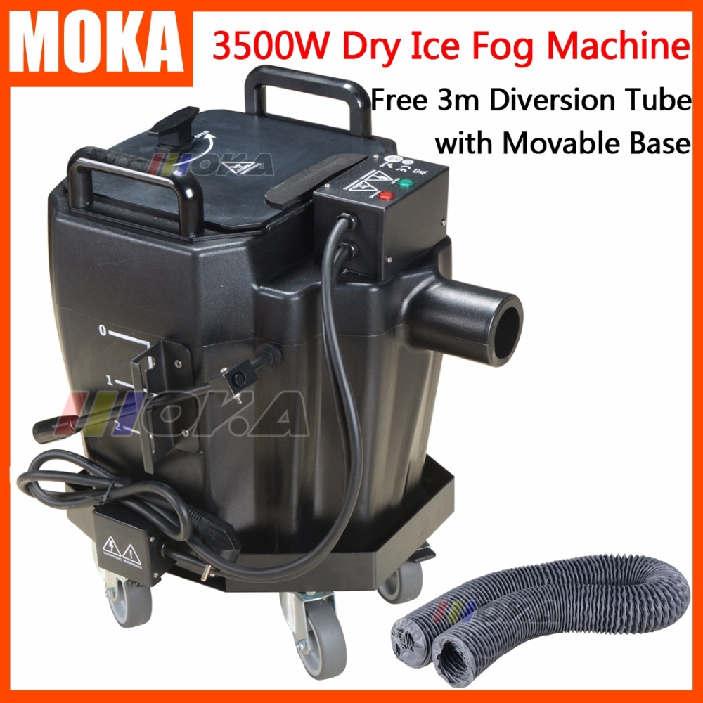 1pc/lot factory sale MOKA 3500w stage dry ice smoke machine low ground fog machine party fog maker for wedding with movable base недорого