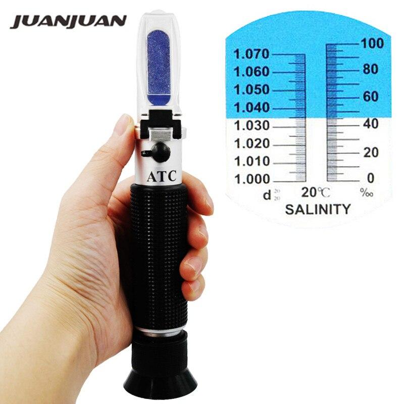 Handheld Neue Ankunft Salzgehalt Refraktometer 0-10% Aquarium Wasser Salz Hydrometer messung mit ATC 20%