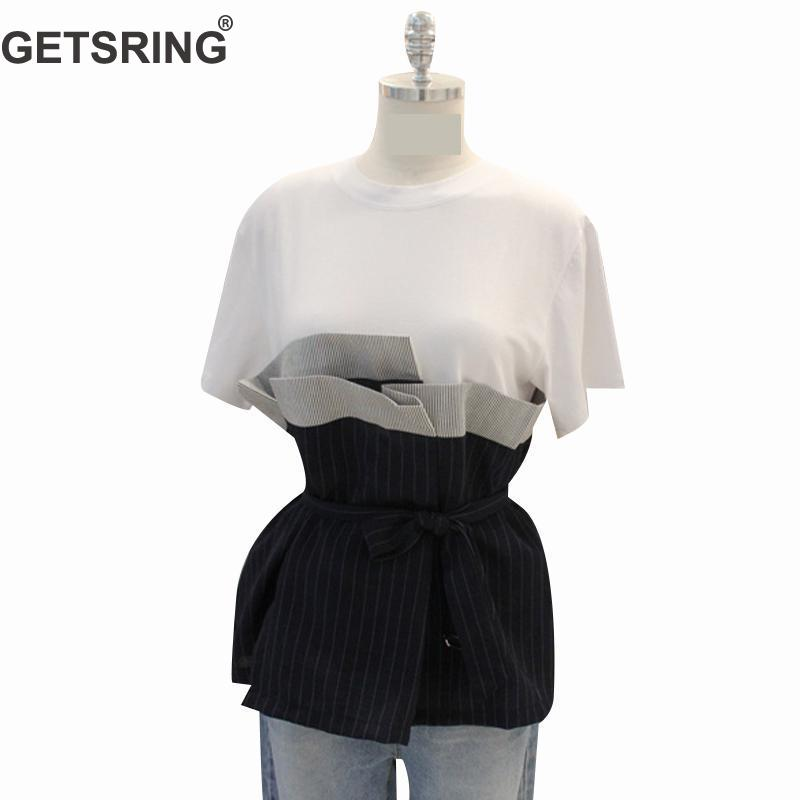 Getsring Women Blouses Summer Tops Cotton White Shirt 2018 Spring Temperament Short Sleeve Gauze Spliced Womens Blouse Black Xl Women's Clothing