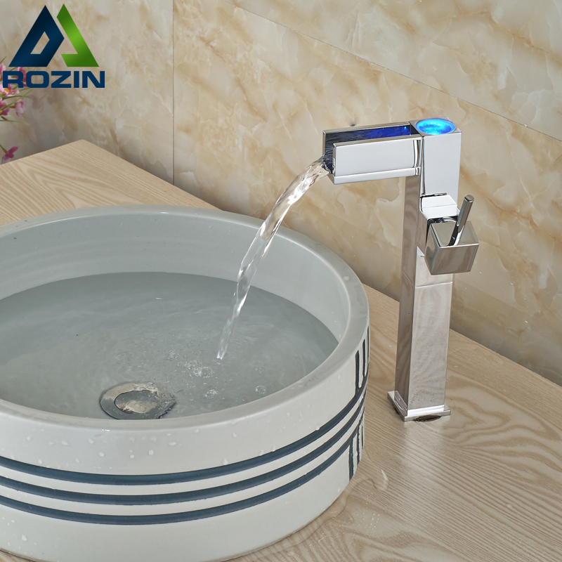 Luxury Brass Waterfall Basin Faucet Countertop led Light Bathroom Sink Mixer Taps Chrome Finish Square Shape new brass square chrome finish waterfall tall countertop basin bathroom sink faucet mixer tap single handle