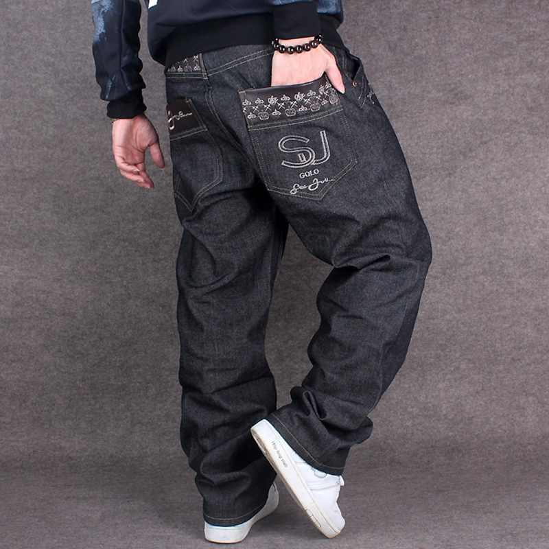 New Fashion Black Embroidery Baggy Jeans Men Hip Hop Streetwear Skateboarder Denim Pants Mens Loose Fit Plus Size Wide Leg Pants hot new large size jeans fashion loose jeans hip hop casual jeans wide leg jeans