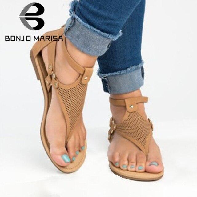 BONJOMARISA Mới Bán Mùa Hè Xỏ Giày Sandal Nữ 2019 Bằng Giản Đấu Sĩ Giày Sandal Nữ Size Lớn 33-43 dép đi biển