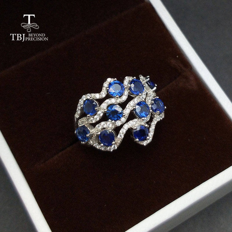 TBJ, Romantic design natural blue Sapphire gemstone ring ,good making ring in 925 sterling silver for women as birthday Gift