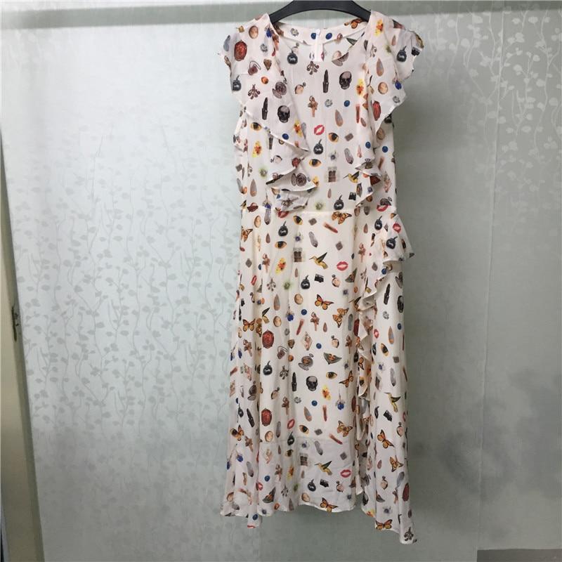 Vestido de seda para mujer manga larga estampado dulce moda verano vestido para dama 2018 nuevo vestido de mujer-in Vestidos from Ropa de mujer    1