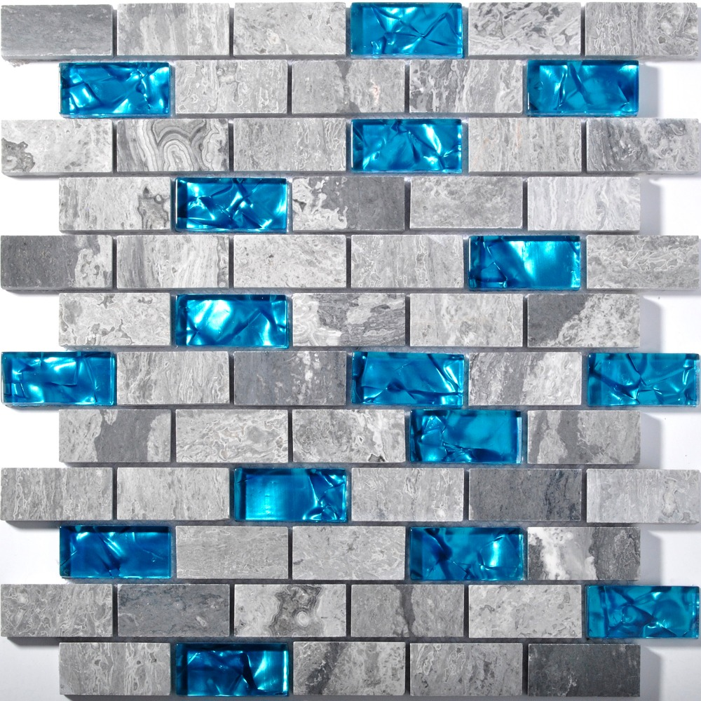 - Subway 1x2 Glass Marble Blends Mosaic Tile For Kitchen Backsplash