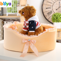 Boya Soft Dog Bed Soft Sofa For Small Dogs Pink Lace Puppy House Pet Doggy Teddy