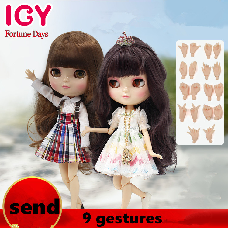 Factory Blyth Doll Nude Doll with clothes + shoes +9 gestures Joint Body Matte Face 4 Colors For Eyes Suitable For DIY Toys Gift free shipping bjd joint rbl 415j diy nude blyth doll birthday gift for girl 4 colour big eyes dolls with beautiful hair cute toy