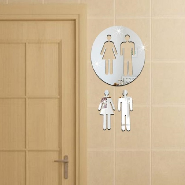 3D Acrylic Bathroom Mirror Stickers Womanu0026Man Toilet Sign Mirror Wall  Sticker Home Hotel Washroom Door Sign