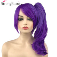 StrongBeauty Dark Ombre Purple Wavy Wigs with Clip Ponytail Synthetic Cosplay Wig Women Hair
