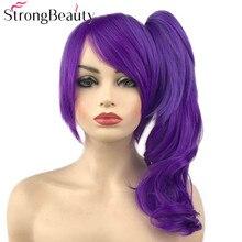 StrongBeauty pelucas onduladas de color morado oscuro para mujer, coletero, Cosplay, peluca de cabello sintético