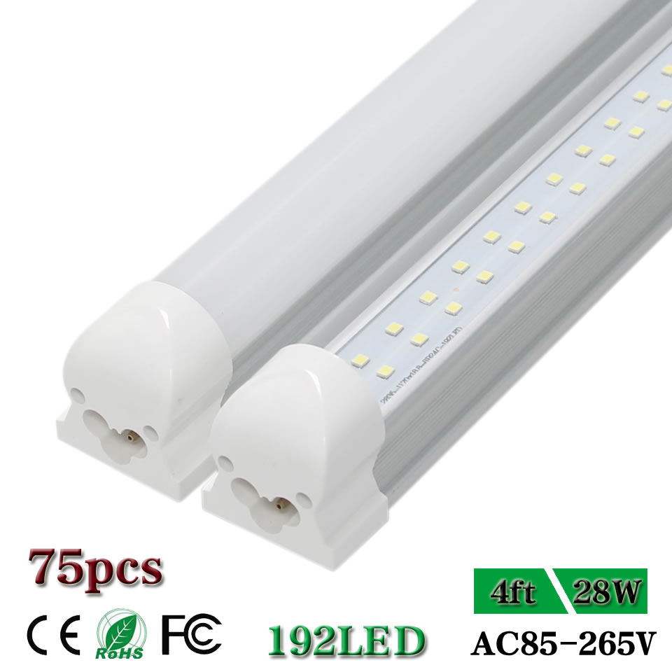 CNSUNWAY 4 ft LED Tube Lights T8 Integrated Double Row ...