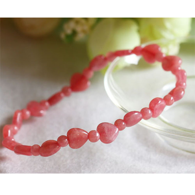 Genuine Natural Red Rhodochrosite Stretch Finished Bracelet Round beads 4mm Heart Beads 7mm Jewelry Beads Marriage 03471 все цены