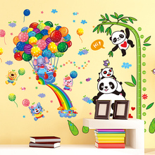 [shijuekongjian] Pandas Animals Wall Stickers DIY Balloons Bamboo Height Mural Decals for Kids Room Baby Bedroom Decoration cute pandas tree pattern wall stickers for children s bedroom decoration