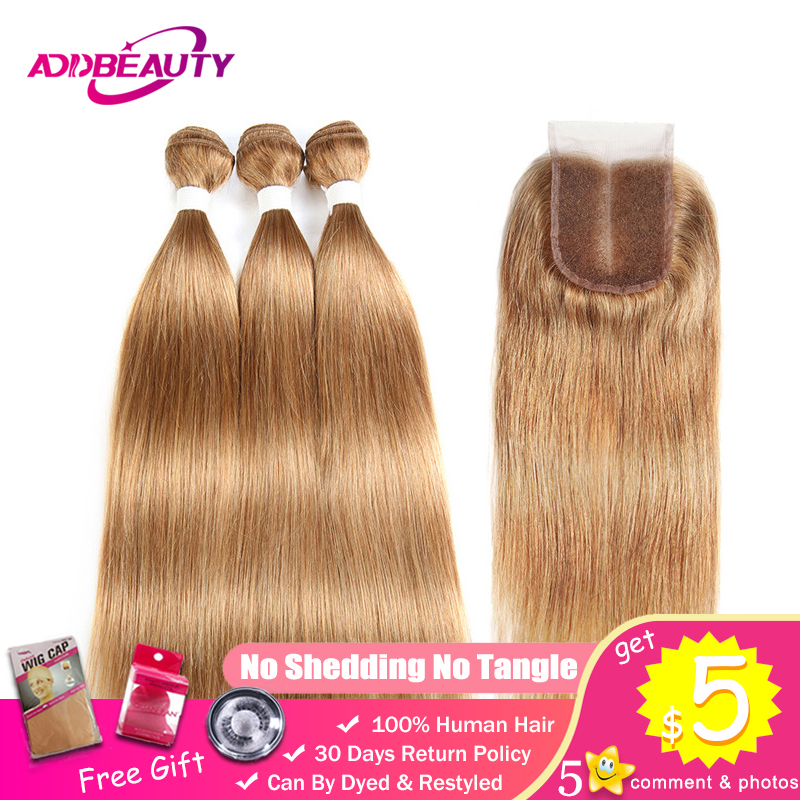 Honey Blonde Bundles With Closure 27 Color Pre-colored 4x4 Swiss Lace Brazilian Straight Remy Human Hair Weave Free Middle Part