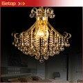 Лучшая цена роскошная хрустальная люстра для домашнего освещения Золотая лампа держатель креативная гостиная ресторан Светодиодная хруст...