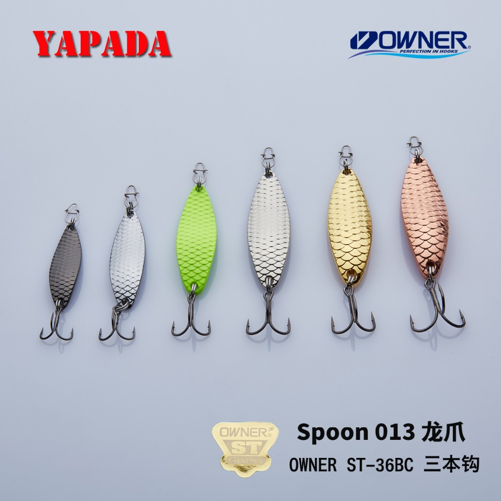 YAPADA Spoon 013 Loong Claw 15g / 55mm 20g / 58mm OWNER Treble Hook Multicolor Zinc aloi Metal Bass Spoon Feather Fishing Lures